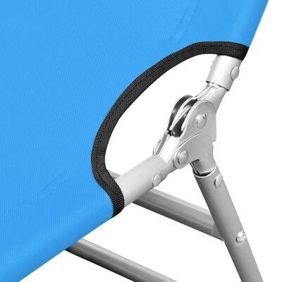 vidaXL Folding Sun Lounger with Head Cushion Steel Turqoise Blue