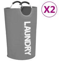vidaXL Skalbinių rūšiavimo krepšiai, 2vnt., pilkos spalvos