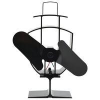 vidaXL Šiluma veikiantis krosnelės ventiliatorius, juodas, 2 mentės