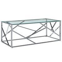 vidaXL Kavos stal., skaidrus, 120x60x45cm, grūd. stikl. ir ner. plien.