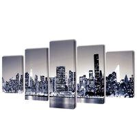 "Fotopaveikslas ""Niujorko Kontūrai, Monochromija"" ant Drobės 100x50 cm"