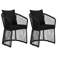 vidaXL Sodo kėdės su pagalvėmis, 2vnt., juodos, PVC ratanas
