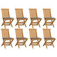 vidaXL Sodo kėdės su pilkomis pagalvėlėmis, 8vnt., tikmedžio masyvas