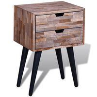 vidaXL Naktinis staliukas su 2 stalčiais, perdirbta tikmedžio mediena