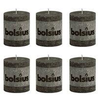 Bolsius Kaimiško stiliaus žvakės, forminės, 80x68mm, antracito, 6vnt.