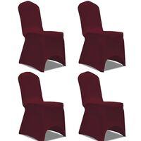 vidaXL Tamprūs užvalkalai kėdėms, 4 vnt., Vyšninės spalvos