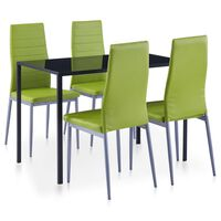 vidaXL Valgomojo baldų rinkinys, žalios spalvos, penkių dalių