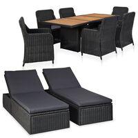 vidaXL Lauko poilsio baldų komplektas, 9 dalių, juodas, poliratanas