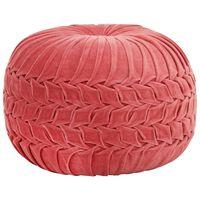vidaXL Pufas, rožinės sp., su klostėmis, 40x30cm, medvilnės aksomas