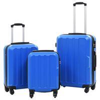 vidaXL Lagaminų su ratukais rinkinys, 3vnt., mėlynos spalvos, ABS