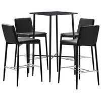 vidaXL Baro baldų komplektas, 5 dalių, juodos spalvos, dirbtinė oda