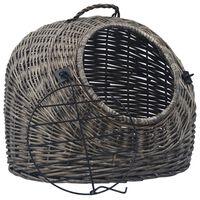 vidaXL Kačių transportavimo krepšys, pilkas, 60x45x45cm, gluosnis
