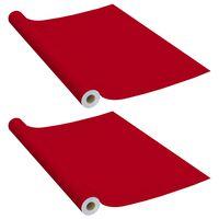 vidaXL Lipnios plėvelės baldams, 2vnt., raudonos, 500x90cm, PVC