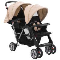 vidaXL Vaikiškas dvivietis vežimėlis, rusvas ir juodas, plienas