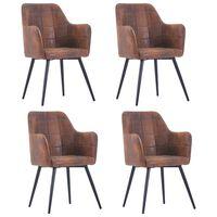 vidaXL Valgomojo kėdės, 4vnt., rudos, dirbtinė versta oda (2x287825)