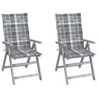 vidaXL Atlošiamos sodo kėdės su pagalvėmis, 2vnt., akacijos masyvas