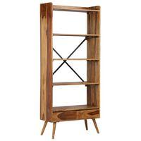vidaXL Knygų lentyna, rausv. dalbergijos medienos masyvas, 75x30x170cm