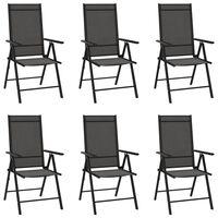 vidaXL Sulankstomos sodo kėdės, 6vnt., juodos spalvos, tekstilenas