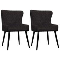 vidaXL Valgomojo kėdės, 2 vnt., juodos spalvos, aksomas