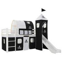 vidaXL Vaikiškos dviaukštės lovos rėmas, su čiuožykla ir kopėčiomis