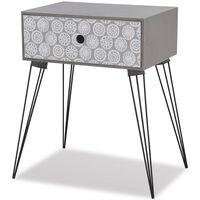 vidaXL Naktinis staliukas su stalčiu, stačiakampis, pilkas
