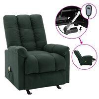 vidaXL Elektrinis masažinis krėslas, tamsiai žalios spalvos, audinys