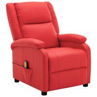 vidaXL Atlošiamas masažinis krėslas, raudonos spalvos, dirbtinė oda