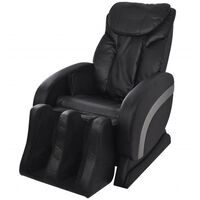 vidaXL Masažinė kėdė, juodos spalvos, dirbtinė oda