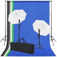 vidaXL Fotostudijos rinkinys: 5 spalvoti fonai ir 2 skėčiai