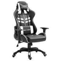 vidaXL Žaidimų kėdė, balta, dirbtinė oda