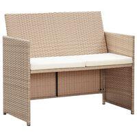 vidaXL Dvivietė sodo sofa su pagalvėlėmis, kreminė, poliratanas