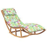 vidaXL Supamas saulės gultas su čiužiniu, tikmedžio medienos masyvas
