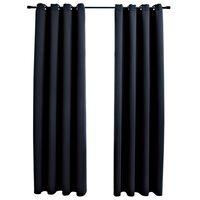 vidaXL Naktinės užuolaidos su žiedais, 2vnt., juodos, 140x225cm