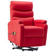 vidaXL Atsistojantis masažinis krėslas, raudonas, dirbtinė oda