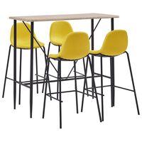 vidaXL Baro baldų komplektas, 5 dalių, geltonos spalvos, audinys