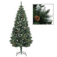 vidaXL Dirbtinė kalėdinė eglutė su kankorėžiais ir baltu blizg., 180cm