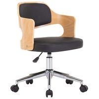 vidaXL Pasukama valgomojo kėdė, juoda, lenkta mediena ir dirbtinė oda