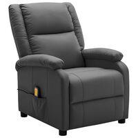 vidaXL Atlošiamas masažinis krėslas, antracito spalvos, dirbtinė oda