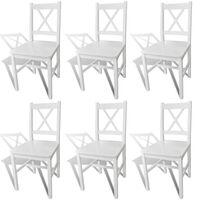 vidaXL Valgomojo kėdės, 6 vnt., baltos, pušies mediena