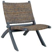 vidaXL Poilsio kėdė, pilka, Kubu ratanas ir raudonmedžio masyvas
