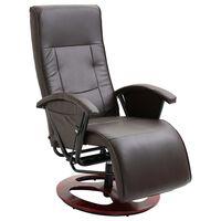vidaXL TV krėslas, rudos spalvos, dirbtinė oda, pasukamas