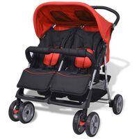 vidaXL Vaikiškas vežimėlis dvynukams, plienas, raudonas/juodas