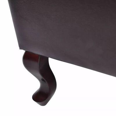 vidaXL Krėslas su pakoja, tamsiai rudas, dirbtinė oda