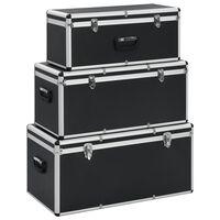 vidaXL Dėžės daiktams, 3 vnt., juodos spalvos, aliuminis
