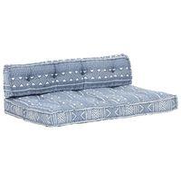 vidaXL Pagalvėlė sofai iš palečių, indigo spalvos, audinys, skiautinė