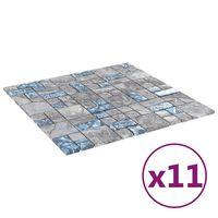 vidaXL Mozaikinės plytelės, 11vnt., pilkos/mėlynos, 30x30cm, stiklas