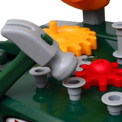 Vaikiškas Žaislinis Darbastalis su Įrankiais, Žalias + Pilkas
