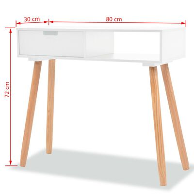 vidaXL Konsolinis stalas, masyvi pušies mediena, 80x30x72cm, balta