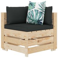 vidaXL Kampinė sodo sofa iš palečių su gėlėtomis pagalvėmis, mediena