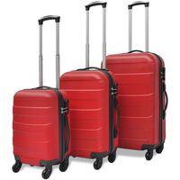 vidaXL Kietų lagaminų su ratukais komplektas, raudonos spalvos